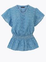 Kadın Mavi Fırfır Detaylı Baskılı Blu<