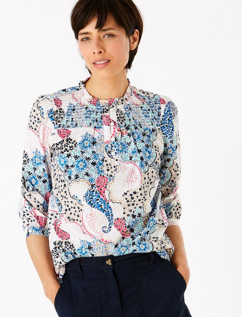 Kadın Multi Renk Uzun Kollu Desenli Bluz