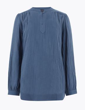 Kadın Lacivert Saf Pamuklu Uzun Kolu Bluz