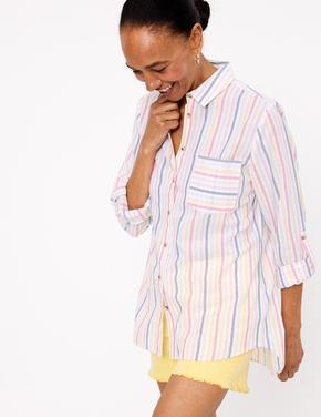 Kadın Multi Renk Saf Pamuklu Çizgili Gömlek