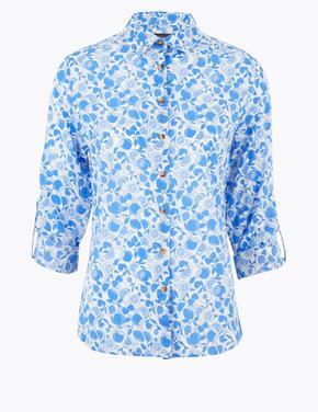 Kadın Mavi Saf Pamuklu Desenli Gömlek