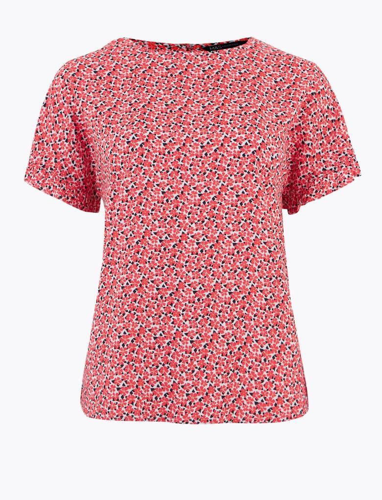 Kadın Pembe Çiçek Desenli Kısa Kollu Bluz