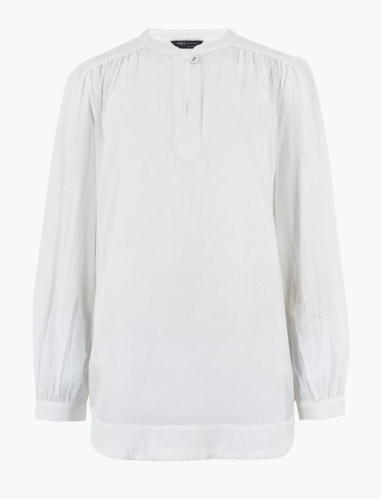 Kadın Beyaz Saf Pamuklu Uzun Kolu Bluz