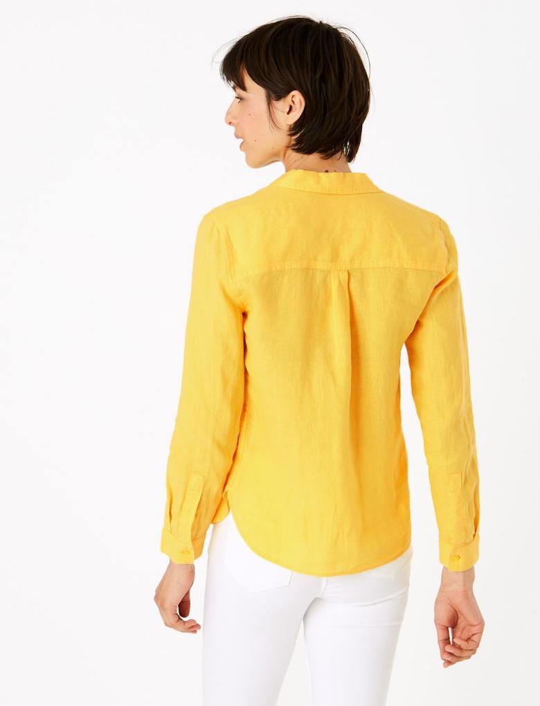 Kadın Bej Keten Gömlek