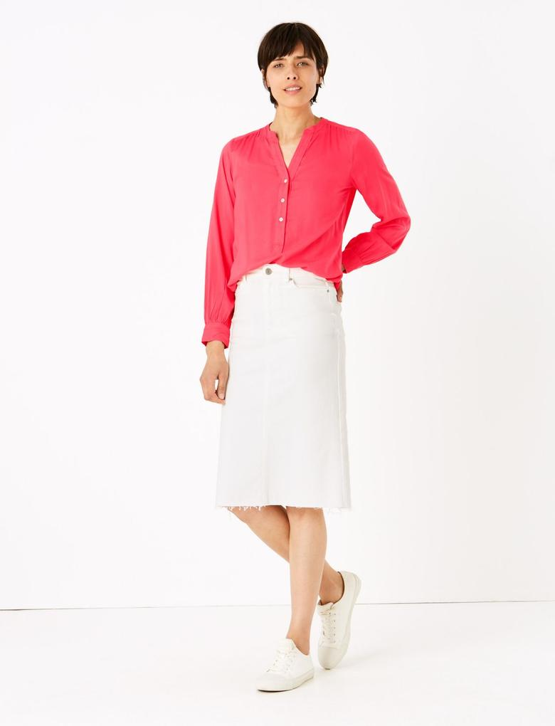 Kadın Kırmızı V Yaka Popover Bluz