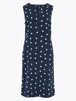 Kadın Lacivert Puantiye Desenli Elbise