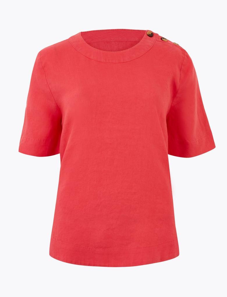 Kadın Kırmızı Düğme Detaylı Keten Bluz
