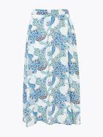 Kadın Mavi Çiçek Desenli Midi Etek