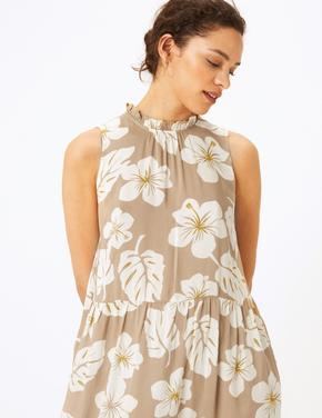 Kadın Bej €i‡ek Desenli Midi Elbise