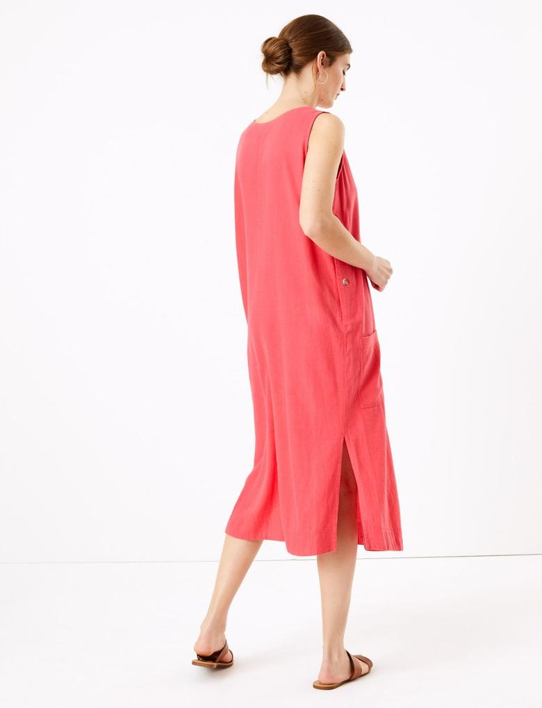 Kadın Kırmızı Keten Midi Elbise