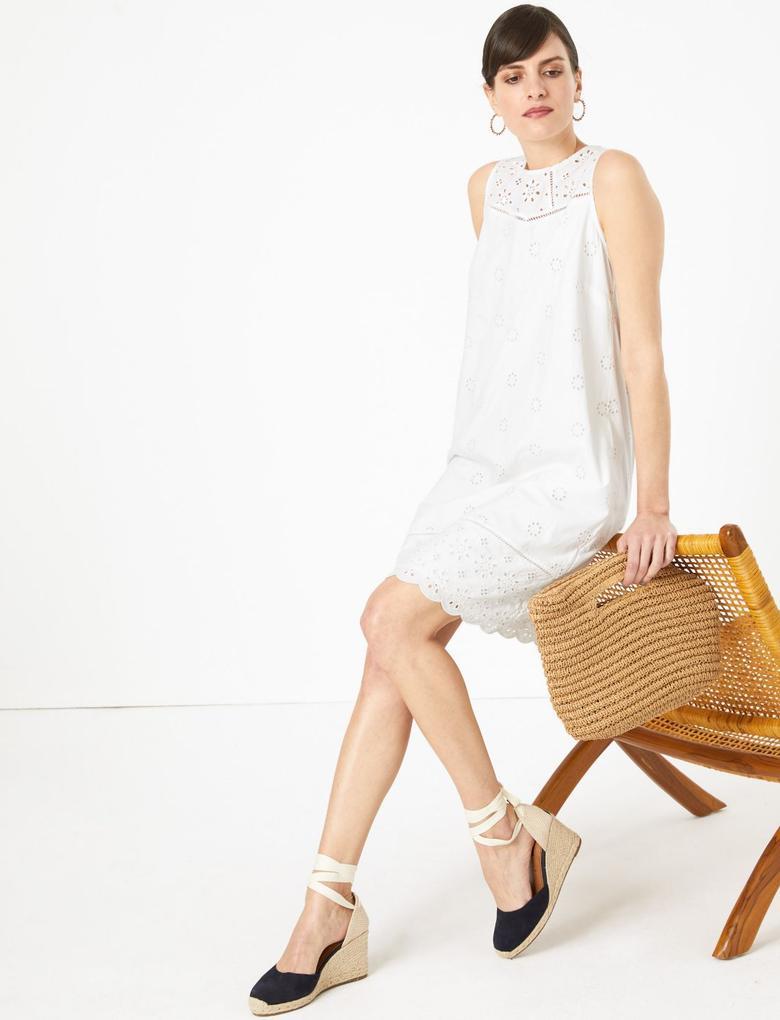 Kadın Beyaz Dantel Detaylı Elbise