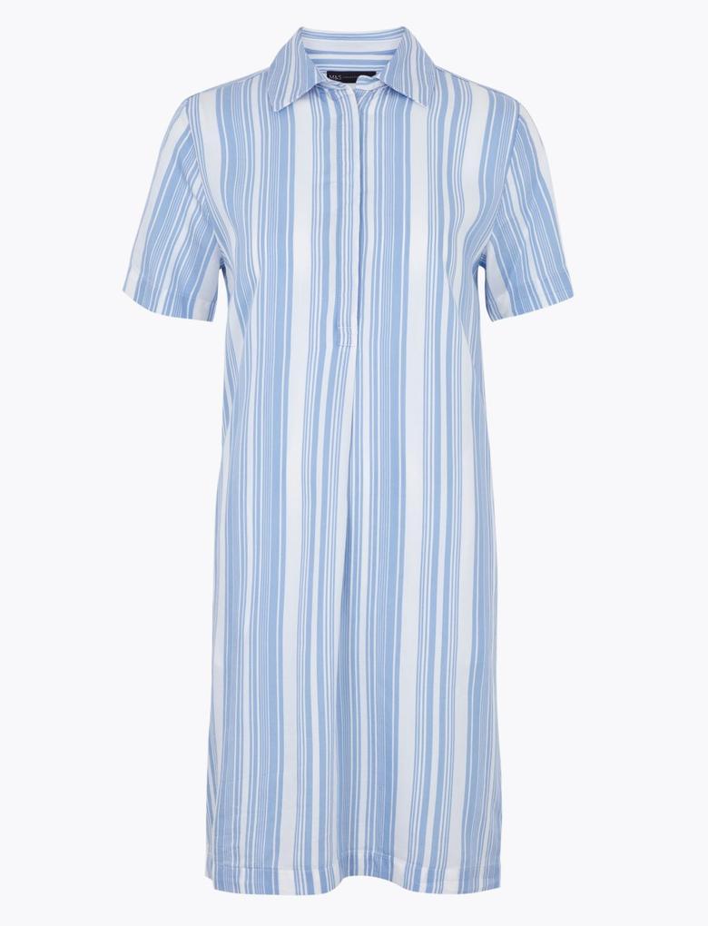 Kadın Krem Çizgili Kısa Kollu Elbise