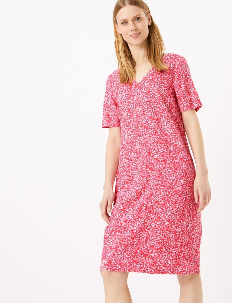 Kadın Pembe Çiçek Desenli Keten  Elbise
