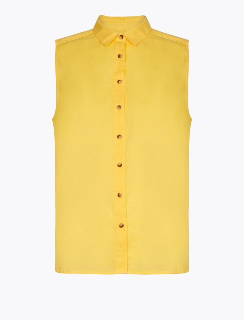 Kadın Bej Düğme Detaylı Gömlek