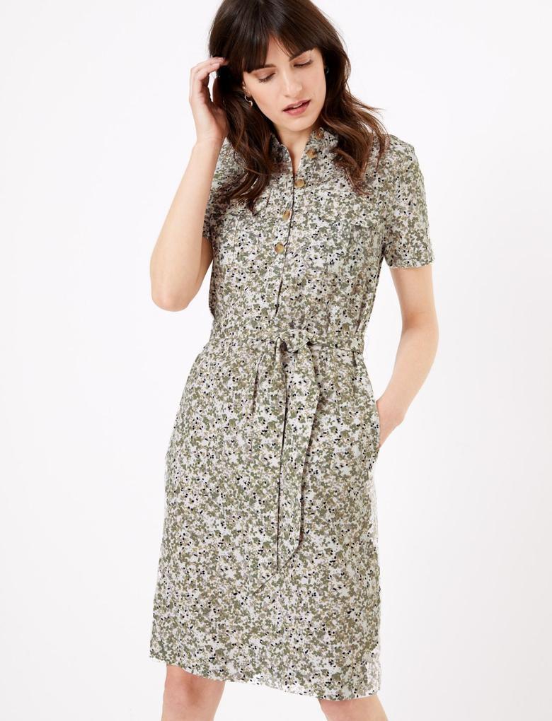 Kadın Yeşil Çiçek Desenli Keten Elbise