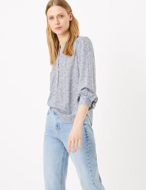 Kadın Beyaz Desenli Uzun Kollu Bluz