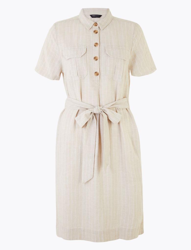 Kadın Bej Keten Kemer Detaylı Elbise