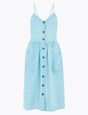 Kadın Mavi Saf Pamuklu Desenli Elbise