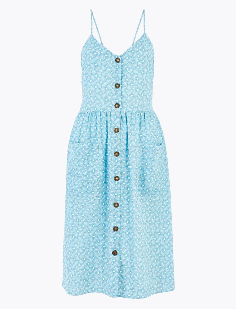 Mavi Saf Pamuklu Desenli Elbise