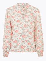 Krem Çiçek Desenli Uzun Kollu Bluz