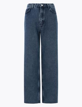 Kadın Lacivert Wide Leg Crop Jean Pantolon