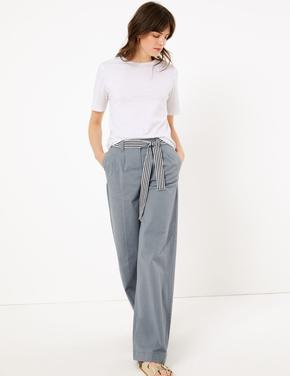 Kadın Mavi Kemerli Wide Leg Chino Pantolon