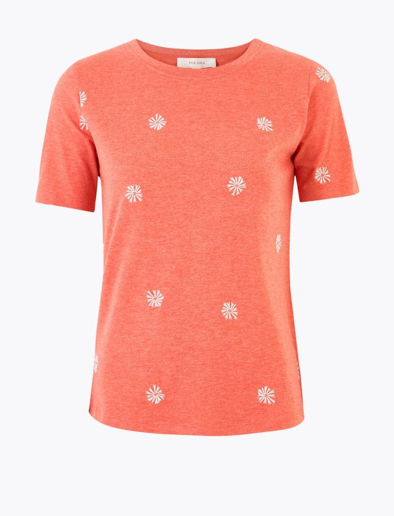 Pembe Kısa Kollu İşlemeli T-Shirt