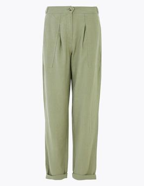 Kadın Yeşil Tencel™ Kargo Ankle Grazer Pantolon