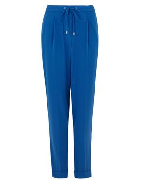 Kadın Mavi Pileli Tapered Leg Pantolon