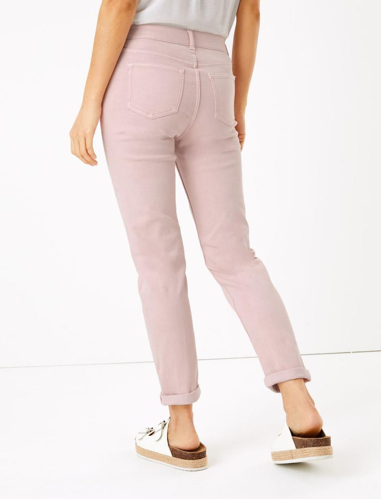 Kadın Pembe Orta Belli Ankle Grazer Jean Pantolon