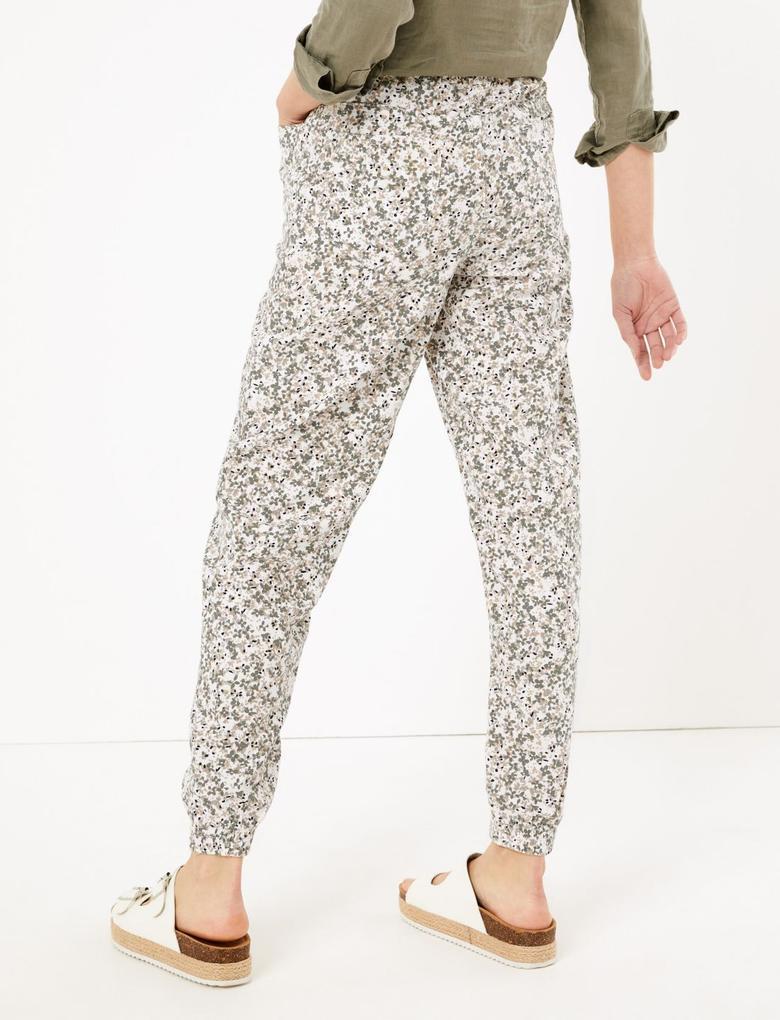 Kadın Krem Çiçek Desenli Tapered Keten Pantolon