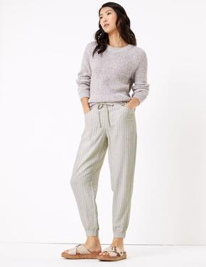 Kadın Bej Keten Tapered Pantolon