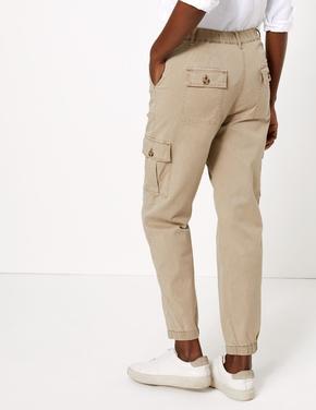 Kadın Kahverengi Tapered Ankle Grazer Joggers Pantolon
