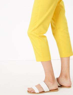 Kadın Bej Slim Cropped Pantolon