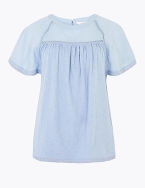 Kadın Mavi Saf Pamuklu Kısa Kollu Bluz