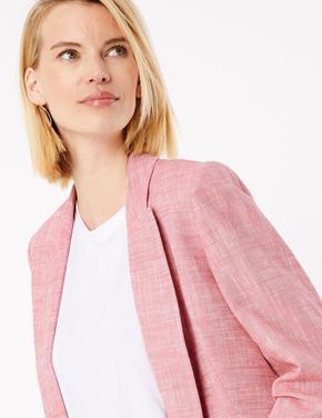 Kadın Pembe Keten Blazer Ceket