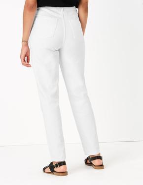 Kadın Beyaz Yüksel Bel Mom Jean Pantolon