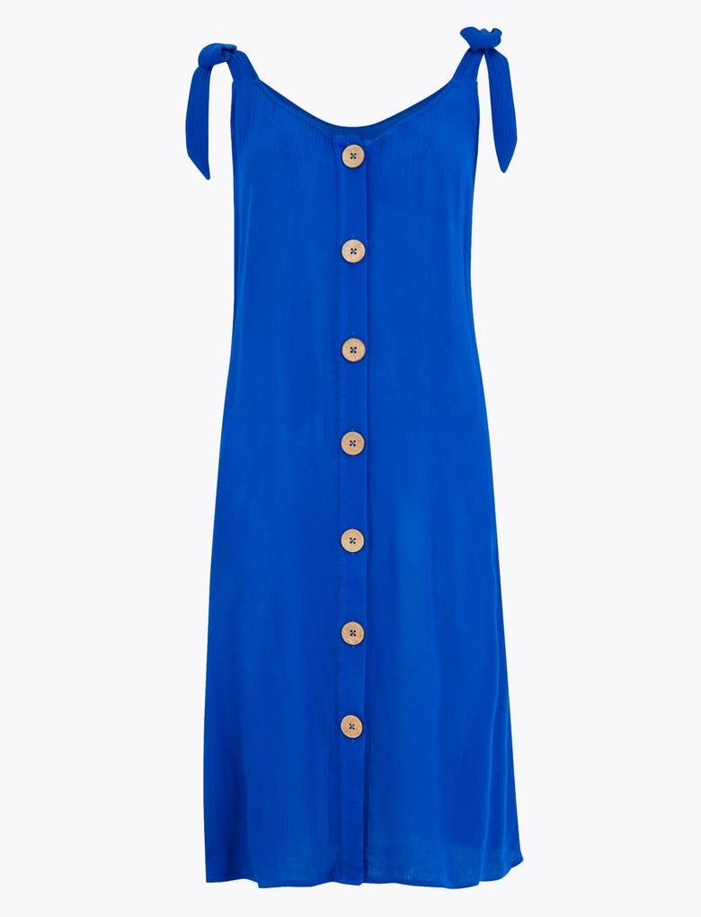 Kadın Lacivert Düğme Detaylı Plaj Elbisesi