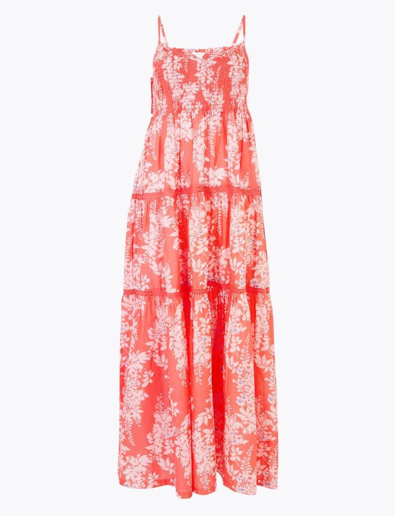 Kadın Pembe İnce Askılı Midi Elbise