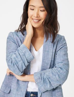 Kadın Mavi Keten Blazer Ceket