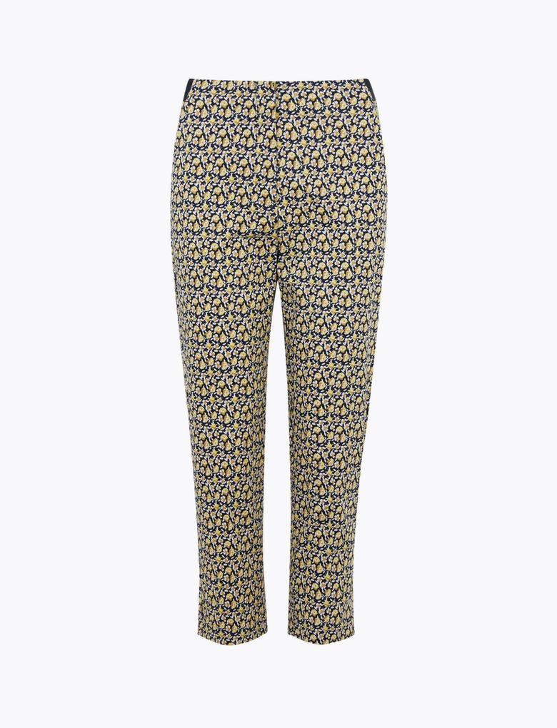 Kadın Lacivert Çiçek Desenli Mia Slim Crop Pantolon