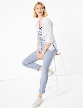 Kadın Mavi Orta Belli Ankle Grazer Jean Pantolon