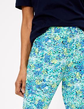 Kadın Mavi Çiçek Desenli Tapered Pantolon