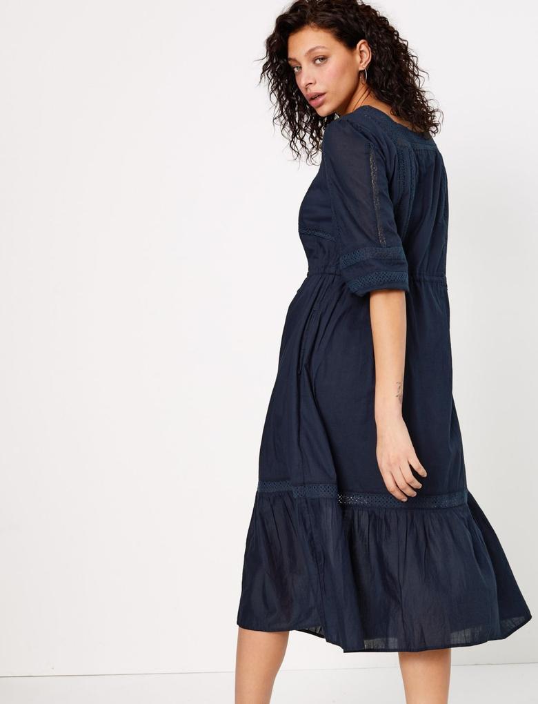 Lacivert Dantel Detaylı Midi Elbise