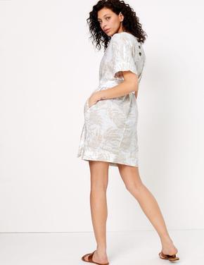 Kadın Krem Desenli Kimono Elbise