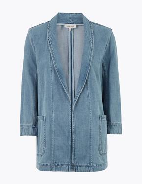 Kadın Lacivert Denim Kimono Ceket