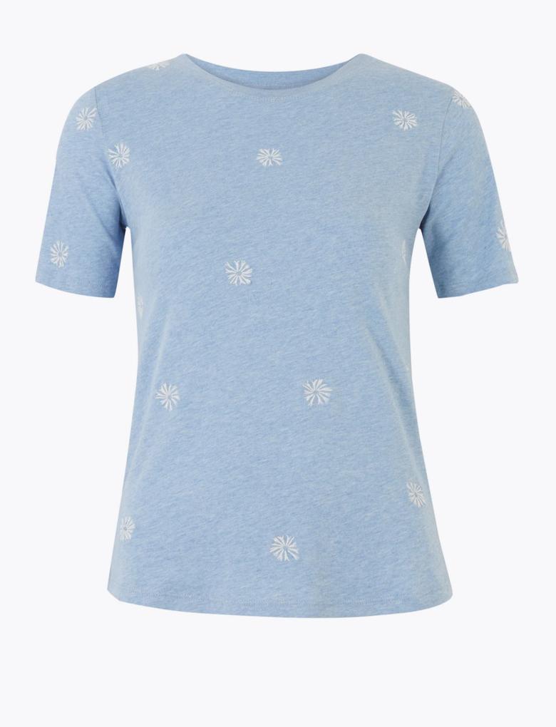Kadın Mavi Kısa Kollu İşlemeli T-Shirt