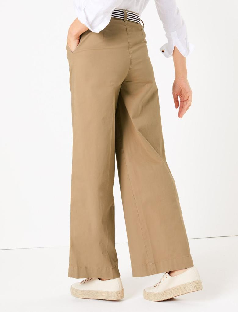 Kadın Krem Kemerli Wide Leg Chino Pantolon