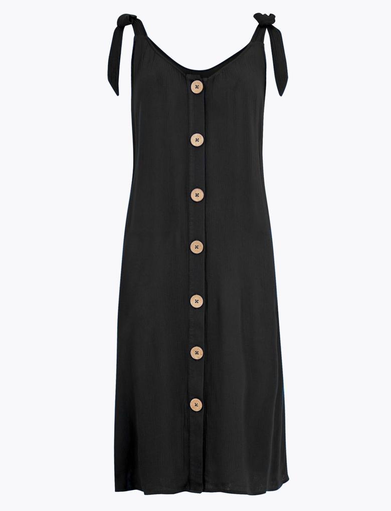 Kadın Siyah Düğme Detaylı Plaj Elbisesi