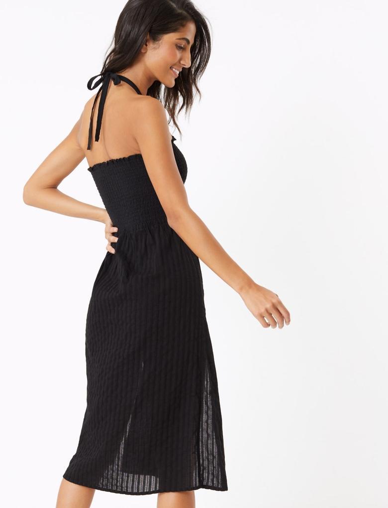 Kadın Siyah Bzgl Midi Plaj Elbisesi